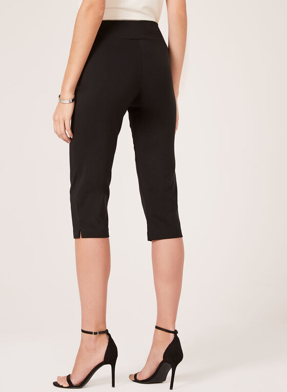 Pull On Wide Waist Capris, Black, hi-res