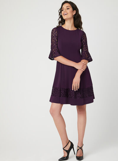 Fit & Flare Panelled Jersey Dress