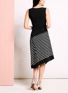 Stripe Print Handkerchief Midi Dress, Black, hi-res