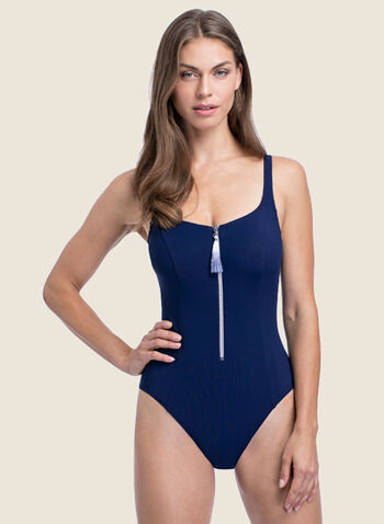 Profile by Gottex - Zipper Detail One-Piece Swimsuit, Blue,  swimsuit, swimwear, profile, zipper detail, one piece, fall winter 2020