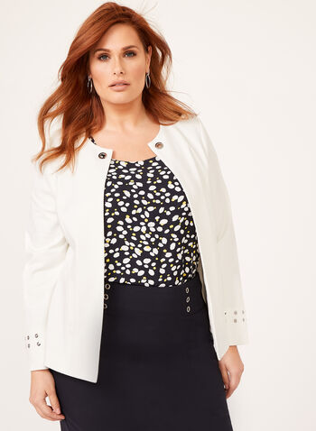 Grommet Detail Open Front Jacket, Off White, hi-res