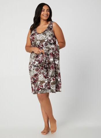 Hamilton - Floral Print Peignoir Set , Black, hi-res,  sleepwear, peignoir, nightshirt, floral print, sleeveless, long sleeves, fall 2019