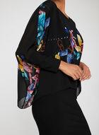 Robe à poncho en mousseline motif papillons, Noir, hi-res