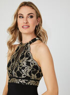 Scalloped Lace Jersey Dress, Black, hi-res