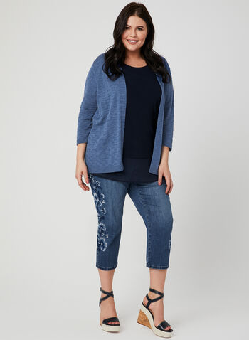 Signature Fit Denim Capri Pants, Blue, hi-res