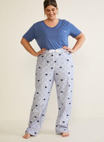 Cat Print Pyjama Set, Blue,  fall winter 2020, pyjama set