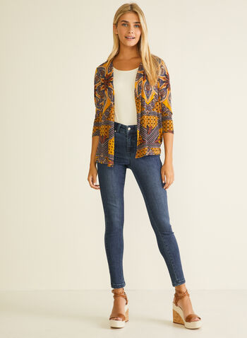 Paisley Print Open Front Top, Yellow,  top, open front, paisley, jersey, 3/4 sleeves, spring summer 2020