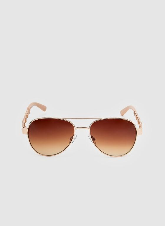 Lunettes de soleil style aviateur, Or, hi-res