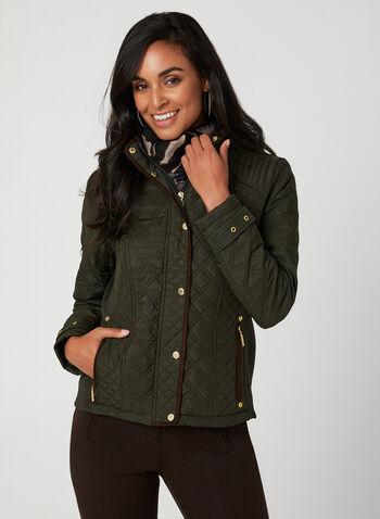 Weatherproof - Manteau matelassé , Vert, hi-res,  manteau, matelassé, manches longues, col montant, boutons-pression, zip, poches, automne hiver 2019