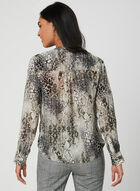 Snake Print Chiffon Blouse, Brown, hi-res