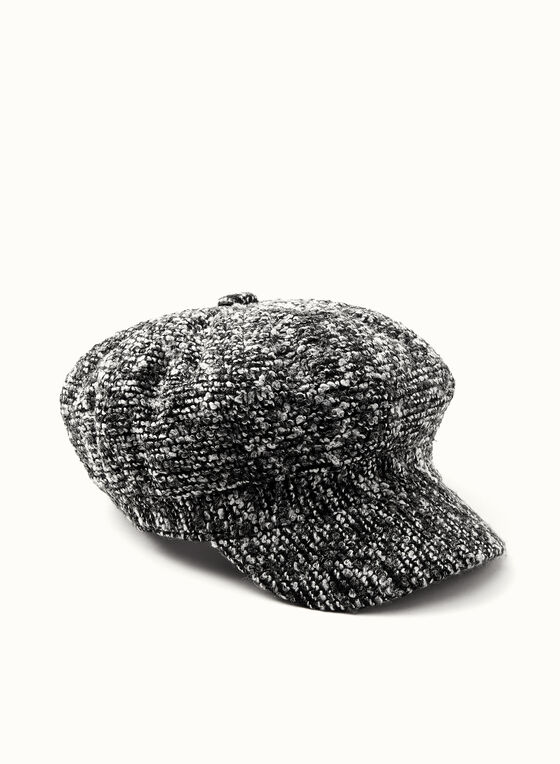 Tweed Newsboy Hat, Black, hi-res
