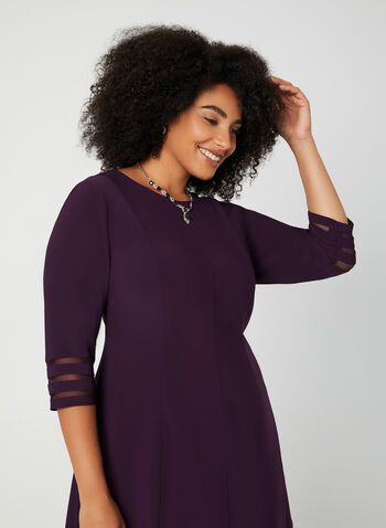 Jessica Howard - Mesh Detail Dress, Purple,  fall winter 2019, dress, cocktail dress, jersey