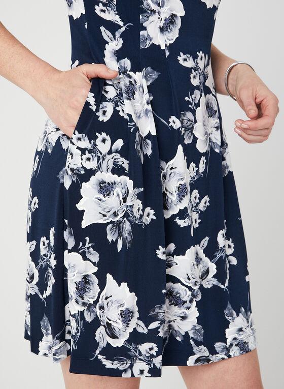 Robe à imprimé floral et manches coude, Bleu, hi-res