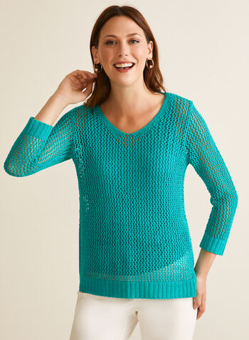 Crochet Sweater With Tank, Green,  sweater, 3/4 sleeves, rounded v-neck, crochet, high low, jersey, tank, spring summer 2020