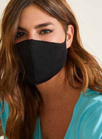 Masque en tissu uni avec filtres, Noir,  masque, uni, coton, filtre, ajustable, automne hiver 2020