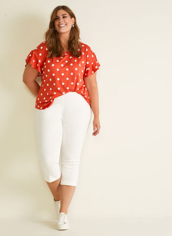 Chapter One - Polka Dot Print Top, Red,  top, polka dot, ruffled sleeves, crepe, spring summer 2020