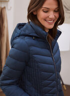 Recycled Iridescent Vegan Down Coat, Blue