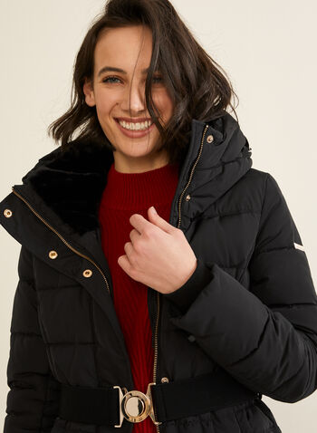 Novelti - Long Quilted Coat With Hood , Black,  coat, long, quilted, down, feather, hood, fall winter 2019