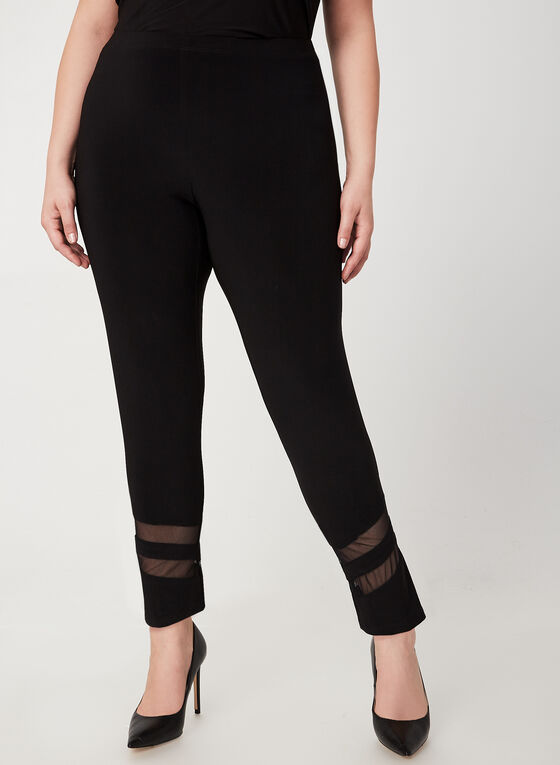 Frank Lyman - Mesh Detail Slim Leg Pants, Black