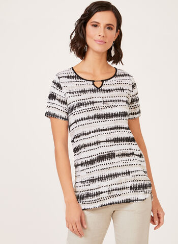 Abstract Stripe Print T-Shirt, Black, hi-res