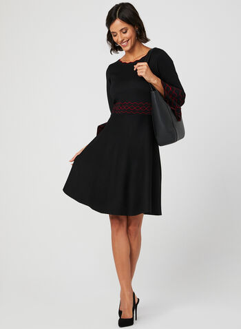 Knit Fit & Flare Dress, Black, hi-res