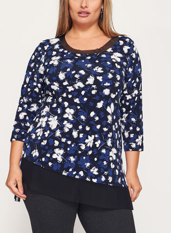 3/4 Sleeve Jersey Tunic Top , , hi-res