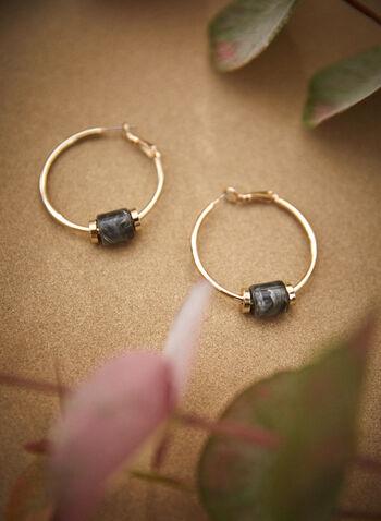 Resin Marble Detail Hoop Earrings, Green,  fall 2021, accessories, jewellery, jewelry, earrings, hoop earrings, hoops, resin, marble, cylinder, gold, golden