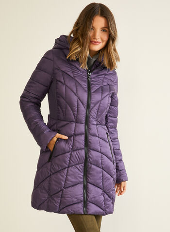 Bernardo - EcoPlume™ Mid Length Coat, Purple,  coat, quilted, hood, vest, pockets, ecoplume, down, fall winter 2020