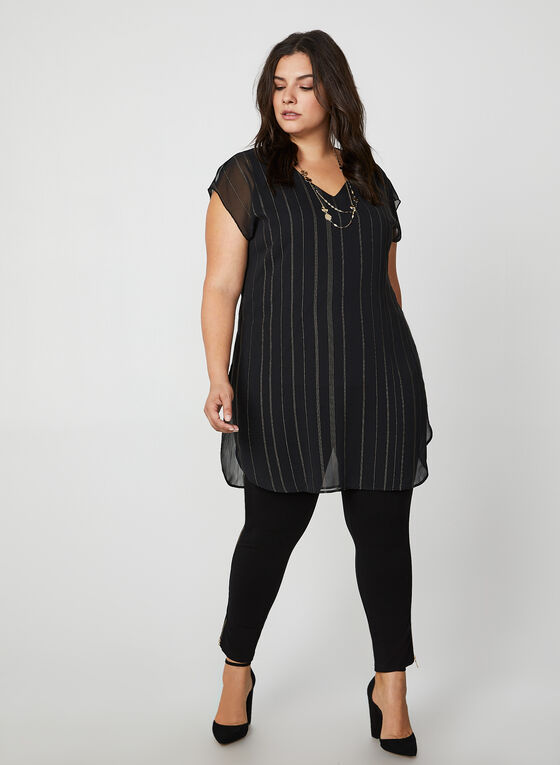 Metallic Stripe Print Blouse, Black