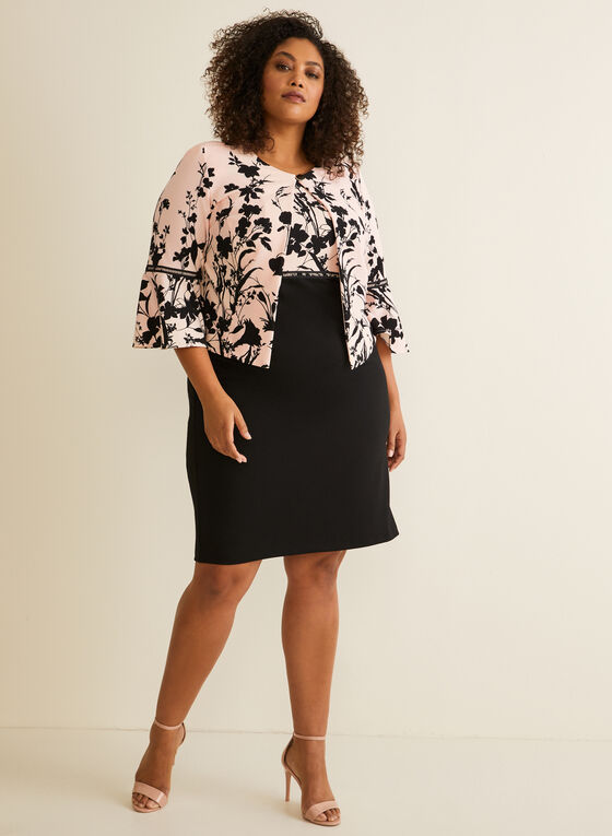 Floral Dress & Jacket Set, Black