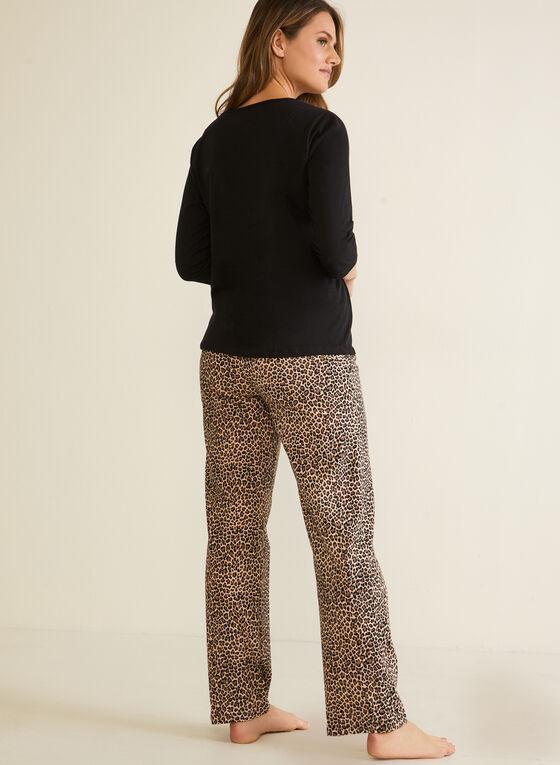 Leopard Print & Text Pyjama Set, Black