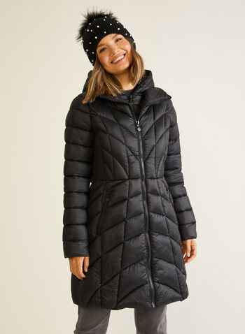 Bernardo - EcoPlume™ Mid Length Coat, Black,  coat, quilted, hood, vest, pockets, ecoplume, down, fall winter 2020
