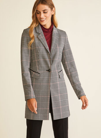 Tartan Print Redingote, Black,  jacket, single-button, notched collar, tartan, redingote, fall winter 2020