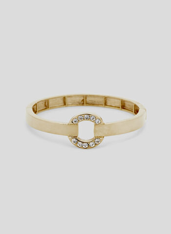 Crystal Embellished Bangle Bracelet, Gold, hi-res