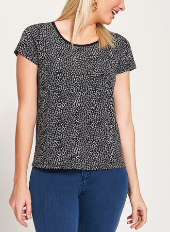 Geometric Print Jersey Top , Black, hi-res