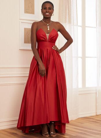 Strapless V-Neck Satin Ball Gown, Red,  prom, ball gown, strapless, v-neck, mesh, open back, pockets, crinoline, spring summer 2021