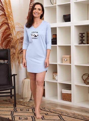 Robe de nuit à slogan brodé, Bleu,  robe de nuit, tenue de nuit, pyjama, encolure V, manches 3/4, broderie, message, panda, animal, coton, automne hiver 2021, nuit, détente