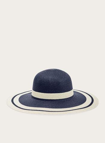 Chapeau cloche rayé en paille, Bleu, hi-res