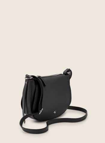 Rounded Crossbody Bag, Black,  bag, crossbody, leatherette, faux leather, adjustable, zipper, round, spring summer 2020