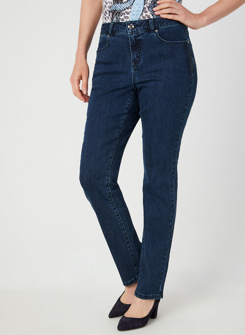 Jeans coupe signature à détails brillants, Bleu, hi-res