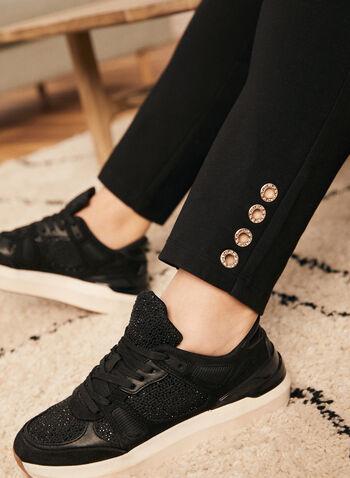 Pantalon coupe cité à jambe étroite, Noir,  pantalon, coupe cité, jambe étroite, point de rome, anneaux, cristaux, printemps 2020