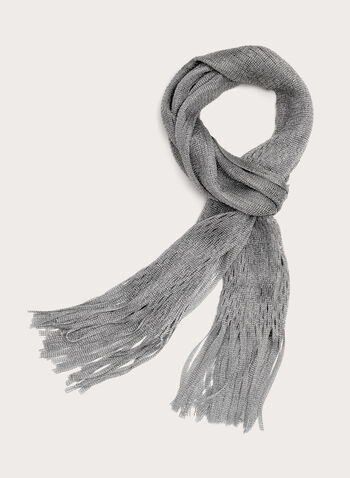 Fringed Honeycomb Scarf, Grey, hi-res