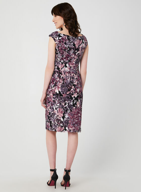 Floral Print Drape Dress, Purple