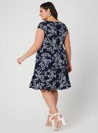Floral Print Fit & Flare Dress, Blue, hi-res