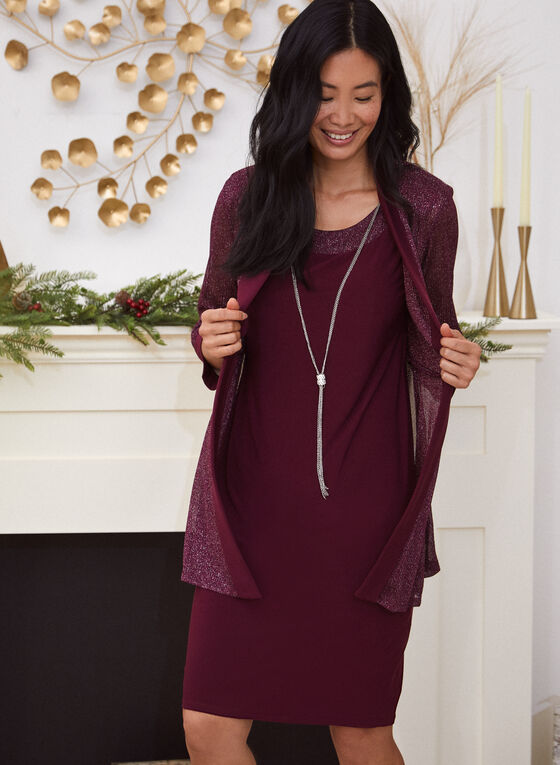 Sleeveless Dress With Duster Jacket, Red
