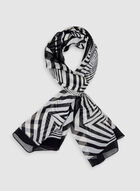 Foulard oblong abstrait, Noir, hi-res