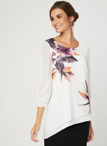 Floral Print ¾ Sleeve Blouse, White, hi-res