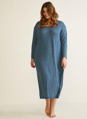 Robe de nuit à manches longues, Bleu,  automne hiver 2020, robe de nuit, pyjama