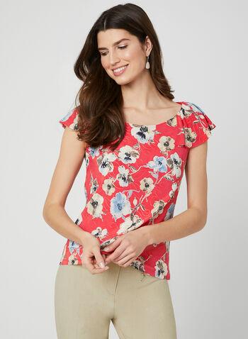 b60a94c895396c Floral Print Flutter Sleeve Top