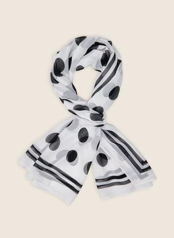Oblong Polka Dot Print Scarf, White,  scarf, oblong scarf, polka dots, polka dot print, polka dot scarf, spring 2020, summer 2020
